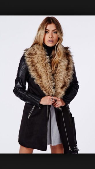 leather sleeves fur collar coat faux fur leather jacket leather coat black leather jacket fur coat