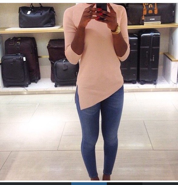top nude rose sweater slit side shirt beige