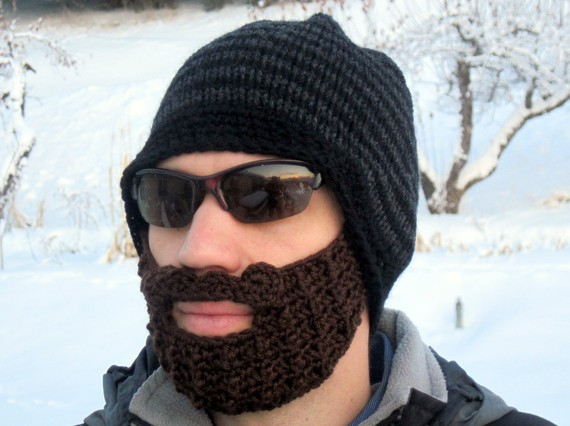 beard beanie  black and charcoal striped L/XL di taraduff su Etsy