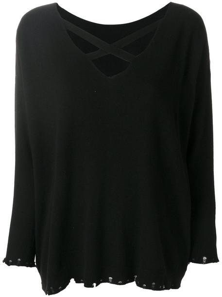 Twin-Set top cross women black wool