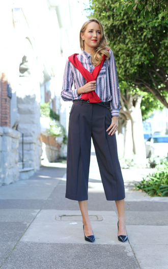 the classy cubicle blogger blouse sweater belt shoes