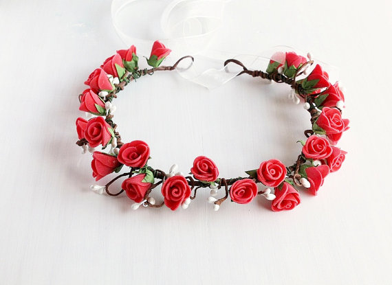 Coral Pink Rose Crown Rose Wedding Wreath Rustic by HandyCraftTS