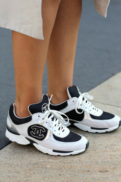 white and black sneakers chanel shoes shoes chanel sneakers white sneakers coco chanel shoes chanel chanel boots trainers fashion sporty chanel