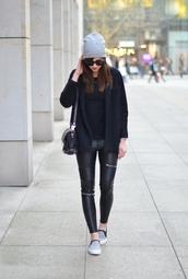 vogue haus,blogger,vans,leather pants,beanie,zipped pants,black leather pants,vans outfits,grey beanie,cardigan,black cardigan,sunglasses,black sunglasses,black bag,jeans