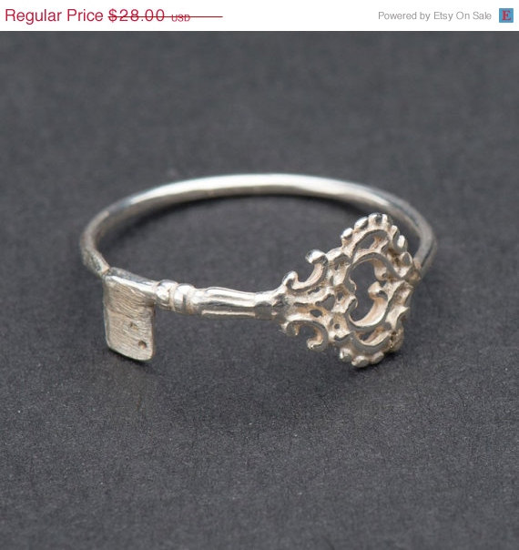 Valentine SALE  Skeleton key ring  silver by DvoraSchleffer