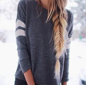 sweater grey white stripes long big warm comfty coldweather warm sweater