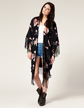 American Gold | American Gold  Shes A Kind Hearted Woman…Studies Evil  Floral Fringed Kimono at ASOS