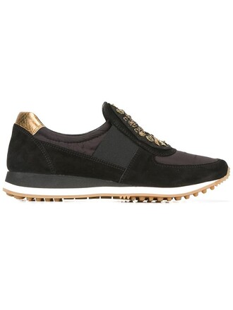 women embellished sneakers suede black shoes