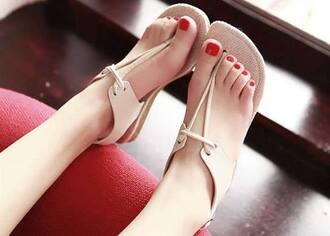 shoes girly beige woman sandales sandals nude boho