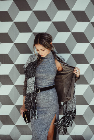 dress scarf jamie chung blogger slit dress grey dress fall outfits belt midi dress ribbed dress turtleneck dress sleeveless dress