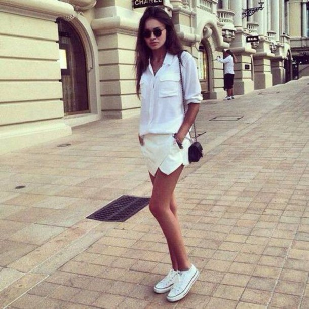 Shorts Short White Beige Look Fashion Girl Class Classic Girly Beautiful Style