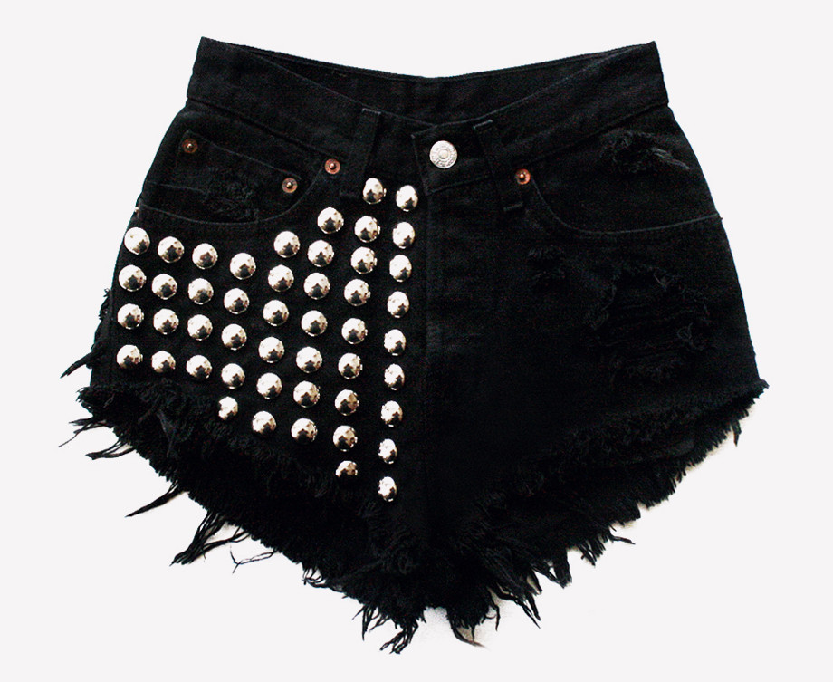 Voldemort Black Studded Vintage Levis Shorts | RUNWAYDREAMZ