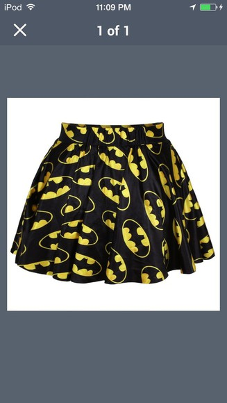 batman skirt black skirt skater skirt