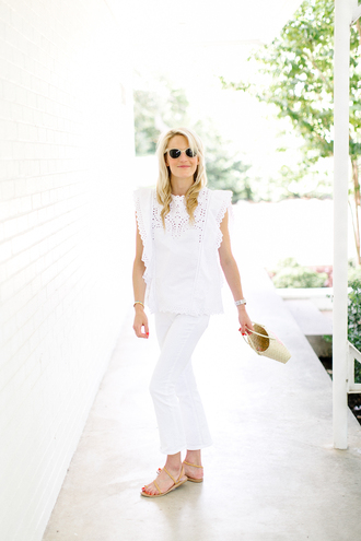luella & june blogger sunglasses top jeans shoes jewels white sunglasses white top eyelet top eyelet detail ruffle ruffled top cropped pants white pants straw bag sandals flat sandals