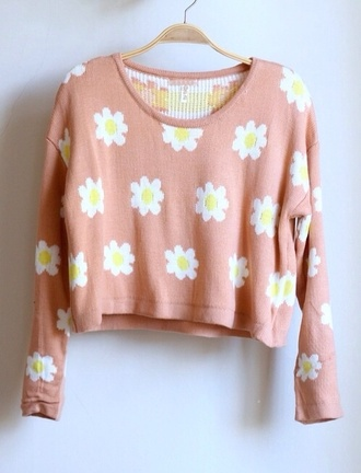sweater fashion flowers floral sweater cropped sweater pink daisy crop daisy's jumper spring cute rose pink daisy sweater
