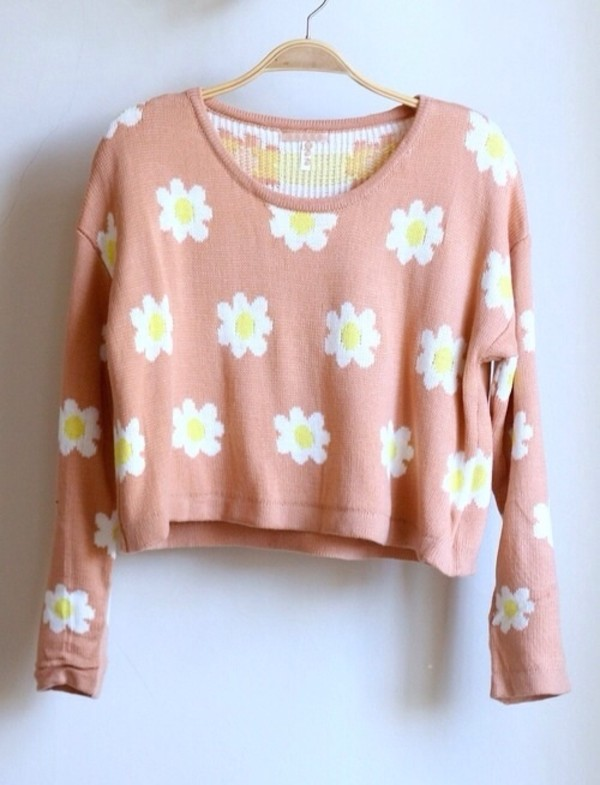 sweater fashion flowers floral sweater cropped sweater pink daisy crop daisy's jumper spring cute rose daisy flowers cropped sweater pink daisy sweater