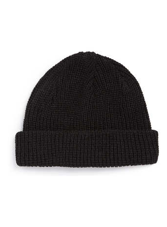 BLACK FISHERMAN RIB BEANIE - Beanies  - Shoes and Accessories  - TOPMAN