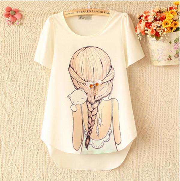 t-shirt blanc girl tresse