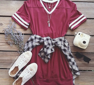 top red sweater long red dress cozy stripes