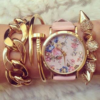 jewels flowers watch gold bracelets