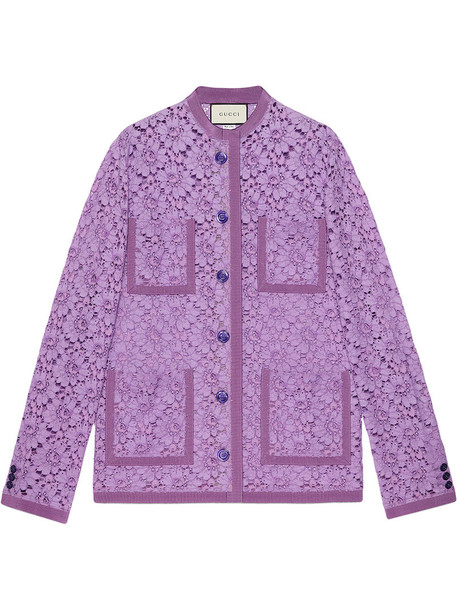 gucci jacket women pearl lace cotton purple pink