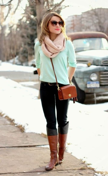 green sweater mint warm shoes blouse
