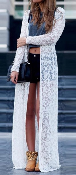 cardigan white lace top dress