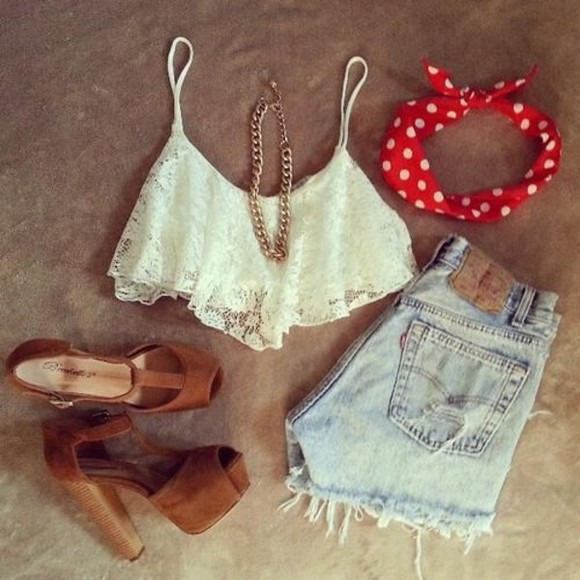 hippie boho tank top lace denim bandana high heels necklace chain spots hippy short adorable cute lace flowy top