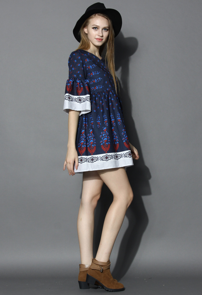 Flare Sleeves Boho Dolly Dress in Navy - Retro, Indie and Unique Fashion