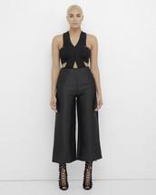 pants,black pants,black,satin,satin pants,wide-leg pants