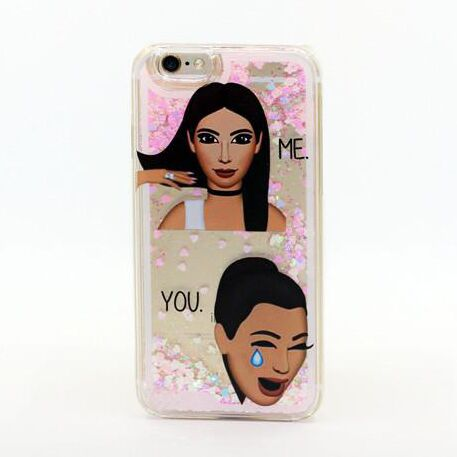 cheap for discount 01faf 4541d For iPhone 7 6 6S Plus Kim Kardashian Kimoji Classy Crying Face Cool Liquid  Glitter Case-in Phone Bags & Cases from Phones & Telecommunications on ...