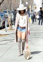 shoes,boots,knee high boots,vanessa hudgens,shorts,coat,blouse