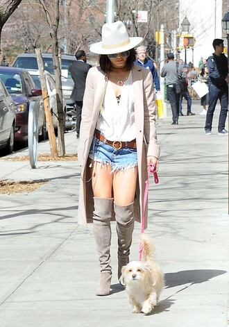shoes boots knee high boots vanessa hudgens shorts coat blouse