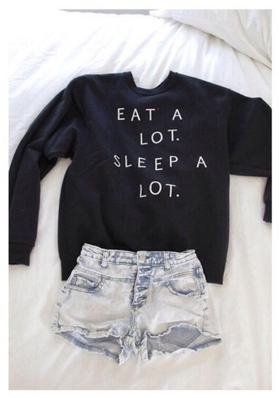 sweater black jumper eat a lot sleep a lot black sweater sweatshirt jumpers black jumper