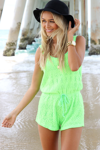 dress ustrendy romper romper ustrendy ustrendy playsuit lace lace playsuit neon neon green neon playsuit