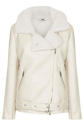 **Faux Sheepskin Biker Jacket by The Whitepepper - Jackets & Coats  - Clothing  - Topshop