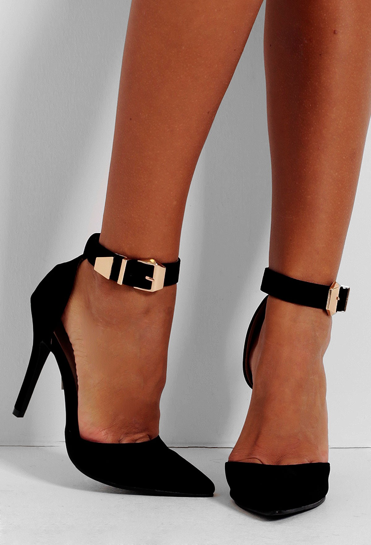 Frankel Black Gold Buckle Suedette Shoes | Pink Boutique