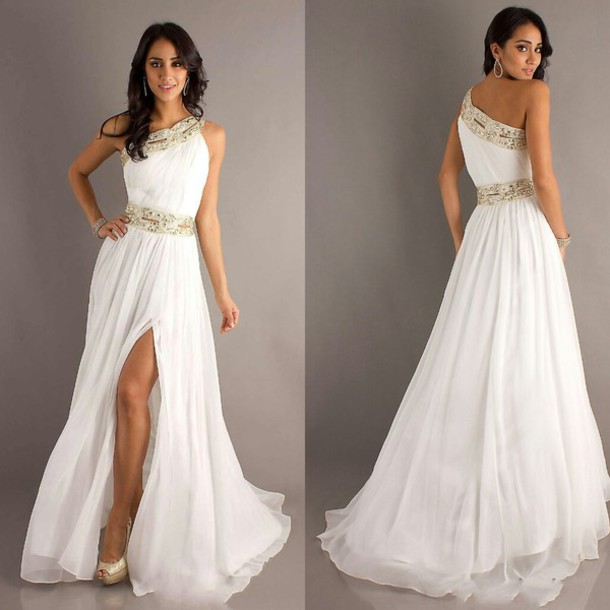 Dress White Dress Gold Sequins Prom Dress Prom Dress Gold