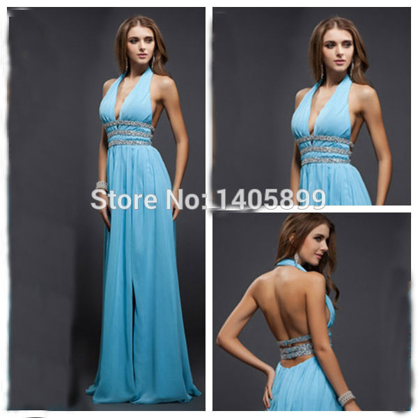 Aliexpress.com : buy new arrival v halter neck off the shoulder beaded natural slit floor length open back a line prom dresses 2014 vestido de festa from reliable dress fruit suppliers on bridal lover