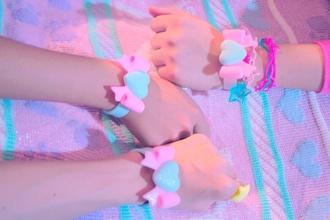 jewels bows kawaii harajuku bracelets plastic