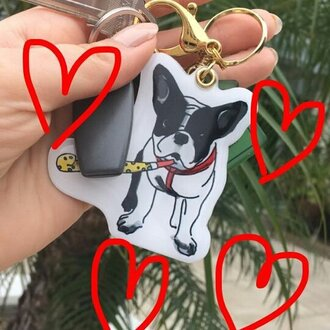 jewels yeah bunny keychain frenchie dog dog lover