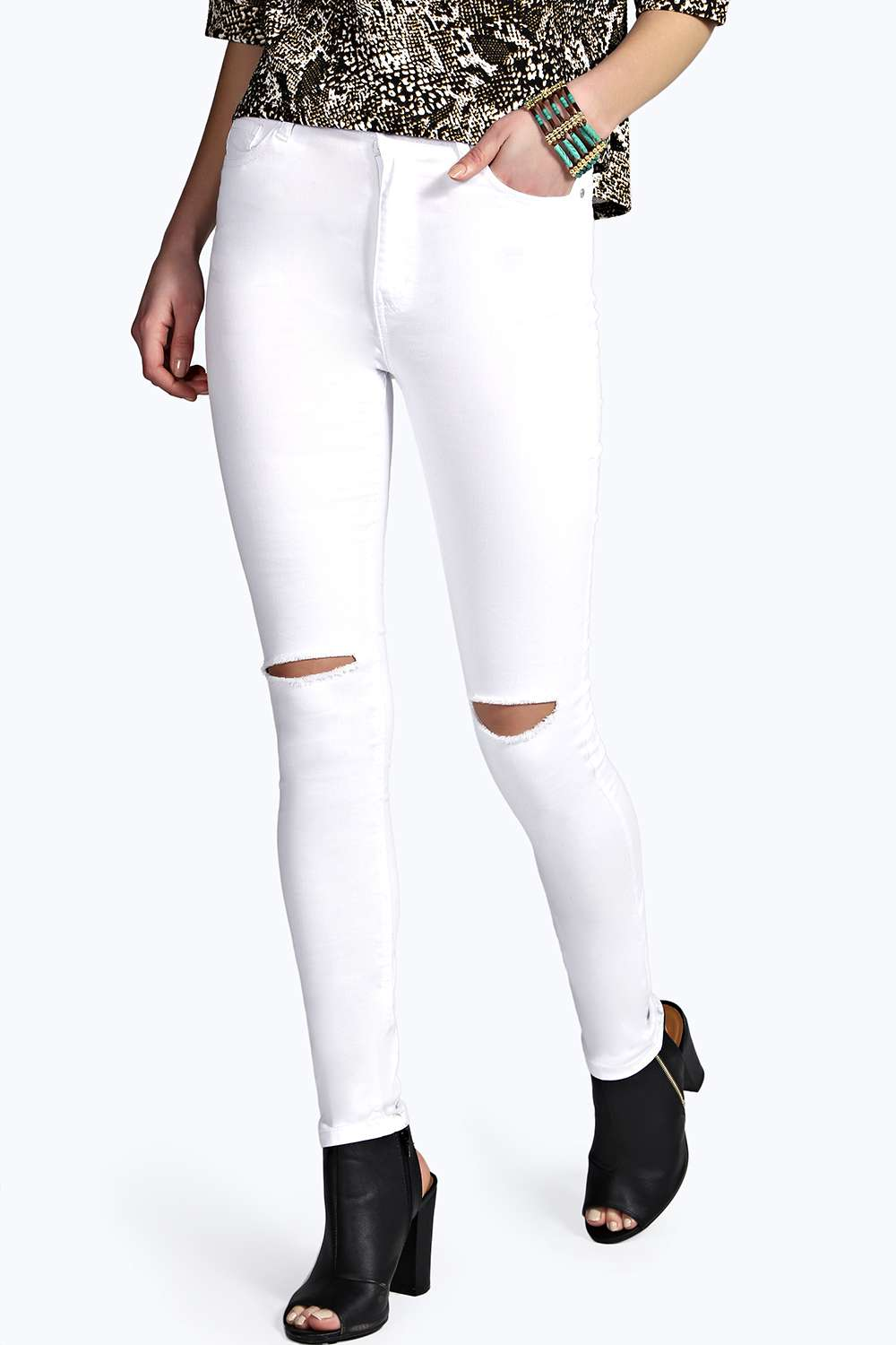 High Rise Ripped Knee Super Skinny Jeans