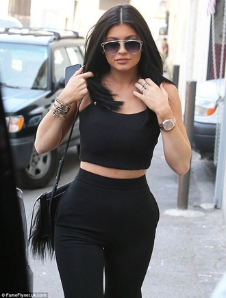 shirt black crop top black trousers sunglasses sunnies accessories accessory kylie jenner kardashians keeping up with the kardashians celebrity style celebrity
