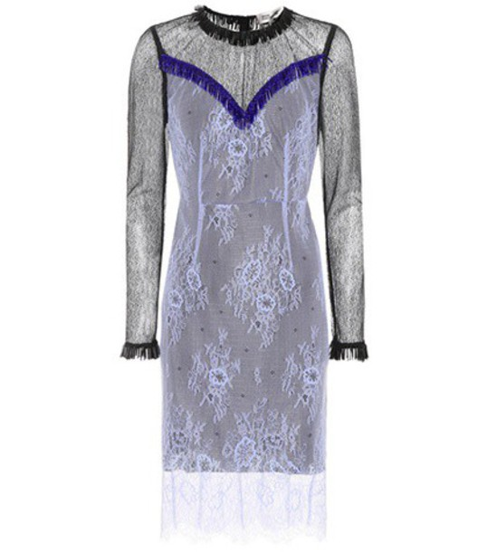 Diane Von Furstenberg dress lace dress embellished lace blue