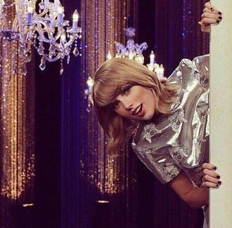 top blouse metallic silver taylor swift