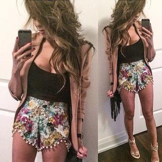 shorts pompoms shorts patterned patterned shorts flowered shorts pompom trim shirt