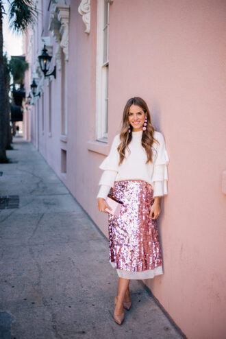 gal meets glam blogger sweater skirt shoes jewels bag sequin skirt pink skirt high heel pumps pumps