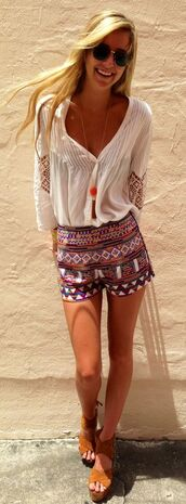 shorts,boho,hippie,shirt,shoes,summer,clothes,bohemian,festival,blouse,white,short,aztec,girly,boho shirt,boho top,top,summer blouse,bohemian top,white blouse,peasant top,boho chic,summer outfits,summer top,button up skirt,hippie chic,hippie shirt,trendy
