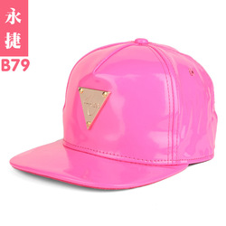 B79 summer hat ladies fashion pink letters marked along the leather flat cap hip