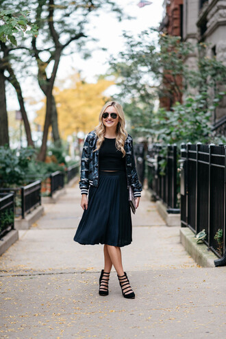 bows&sequins blogger jacket top skirt shoes bag pleated skirt midi skirt bomber jacket clutch